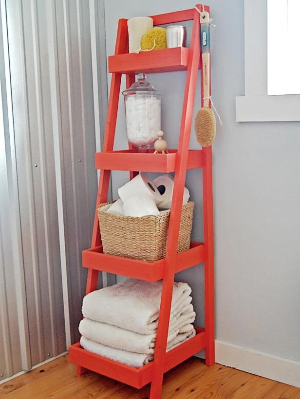 6.Red Ladder Shelving Project by simphome.com