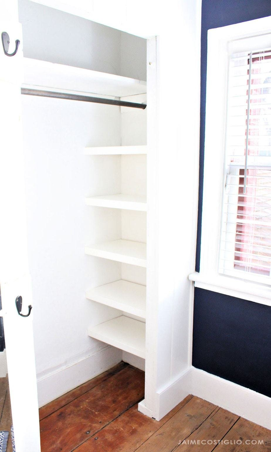 7. Try completing this EASY CLOSET SHELVES Ideas by simphome.com