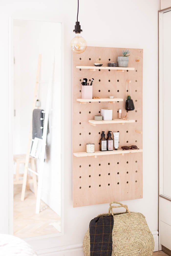 1. DIY Standing Vanity Idea with Pegboard by simphome.com