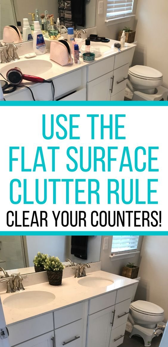 1. Follow this Flat Surface Rule to conquer your Bathroom Counter Clutter by simphome.com