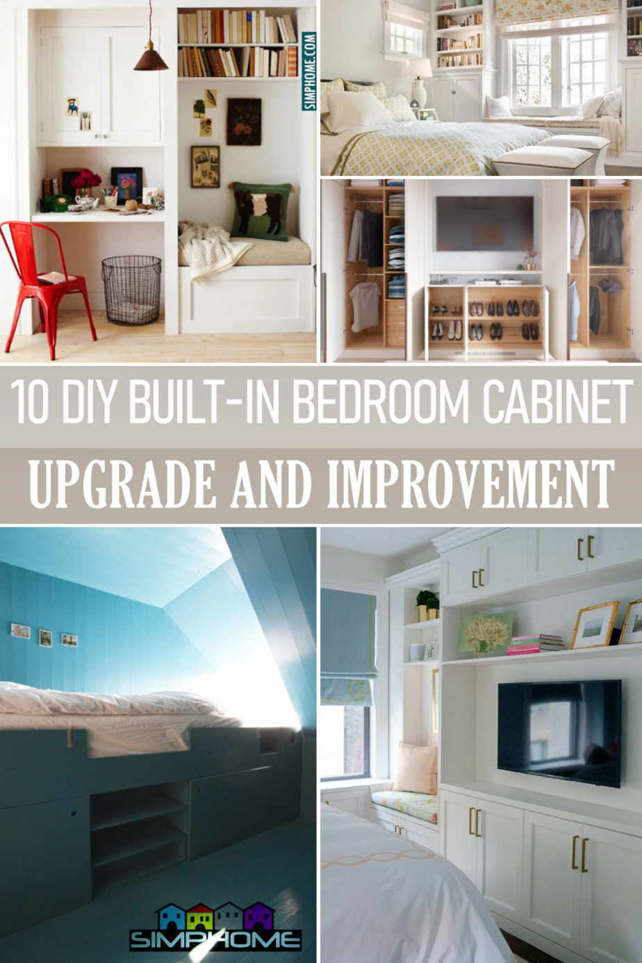 10 Built In Bedroom Cabinets Ideas via Simphome.comFeatured