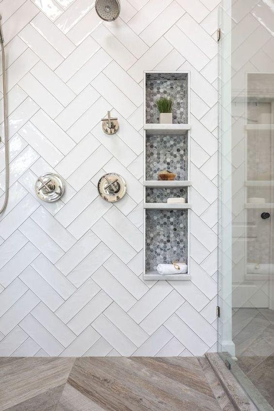 11. WHITE SUBWAY TILE PATTERN SHOWER by simphome.com