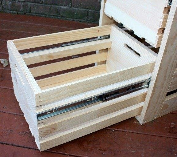12.DIY Crate Cabinet With Sliding Drawers by simphome.com