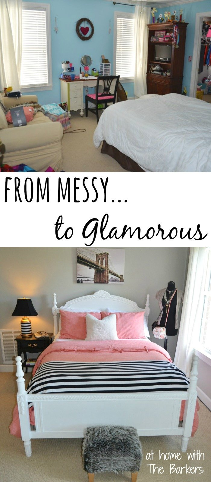 12.Teen Girl Room Makeover From Messy to Glamorous by simphome.com