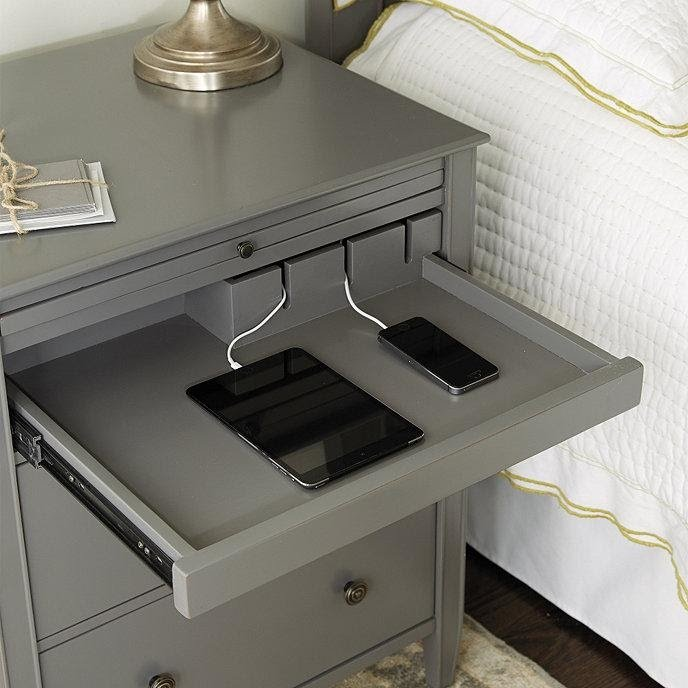 3. Sidney Side Table with Charging Station by simphome.com