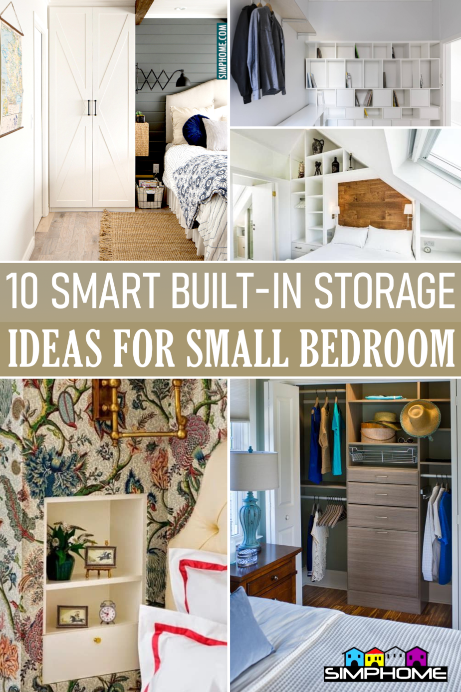 Smart Built In Storage Ideas for Bedroom via Simphome.comFeatured