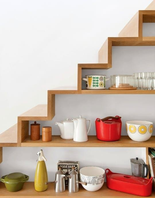 1. Add Shelves under the Stairs by simphome.com