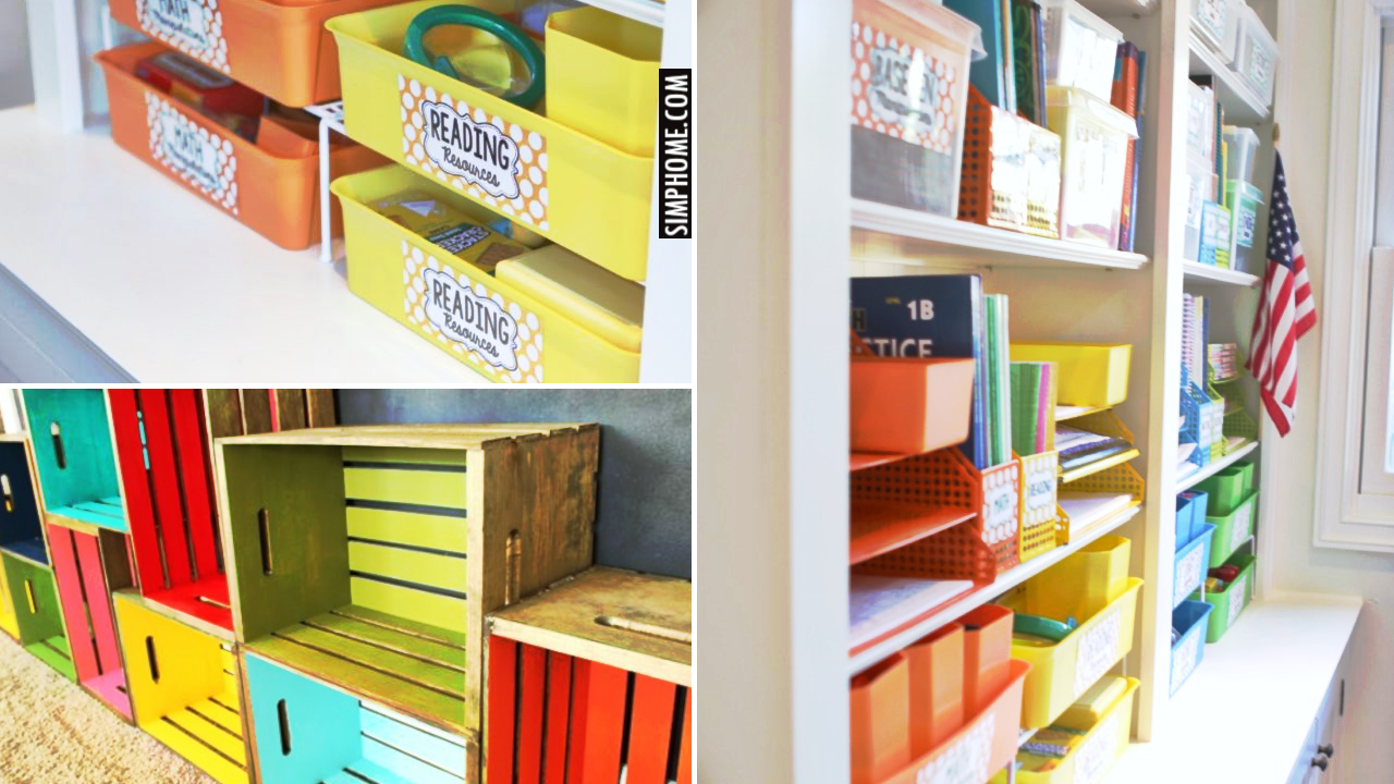 10 Clever Homeschooling Organization Ideas for Small Space via Simphome.comthumbnail
