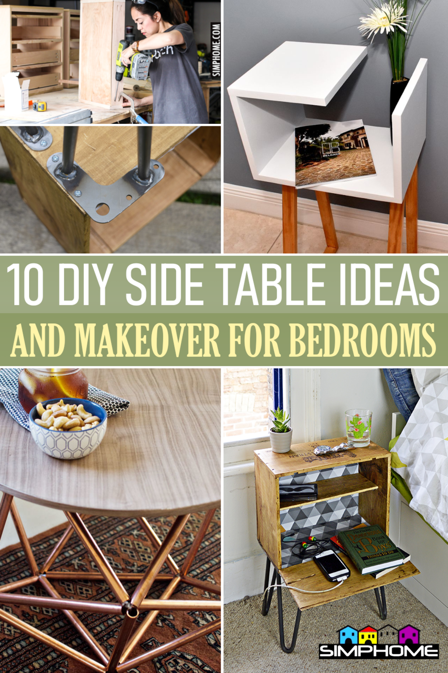 10 DIY Side Table for Bedroom Ideas via Simphome.comFeatured Image