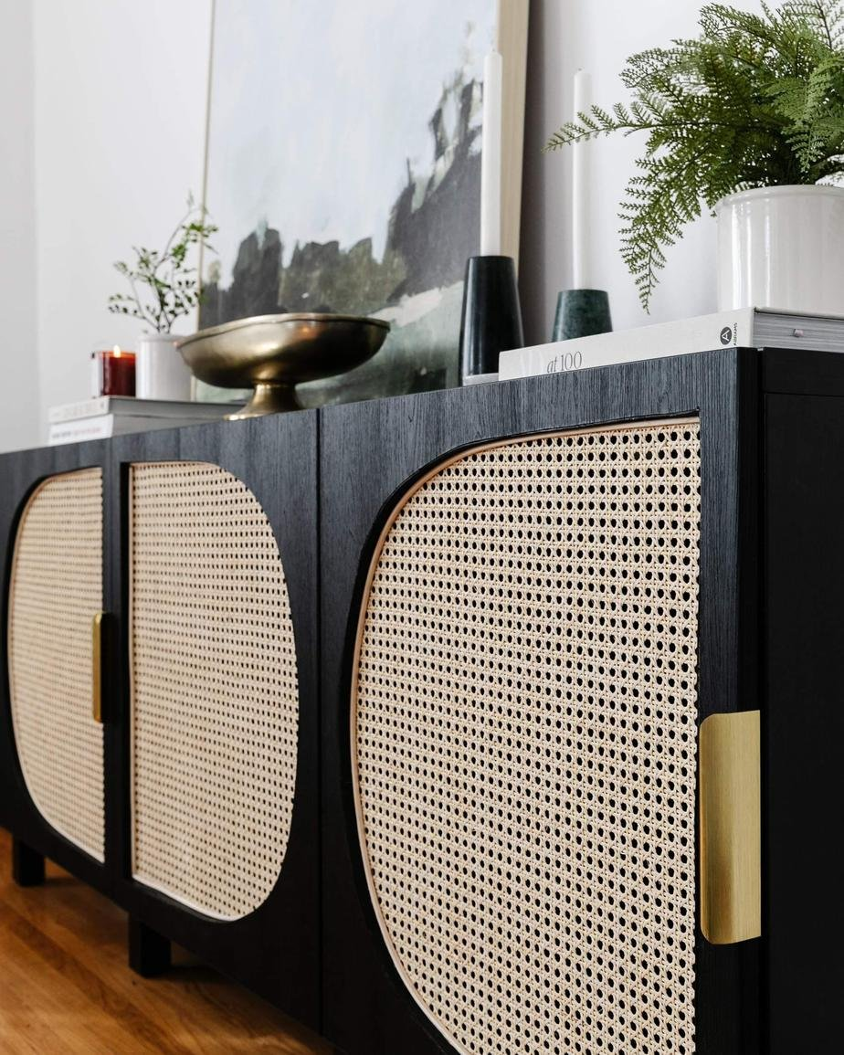 8. Or if that is too much of a hustle spare view minutes to check out this DIY IKEA Woven Cane Storage Console by simphome.com