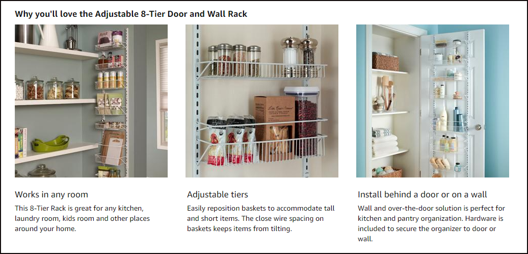 ClosetMaid 1233 Adjustable 8 Tier Wall and Door Rack by Amazon from Simphome.com