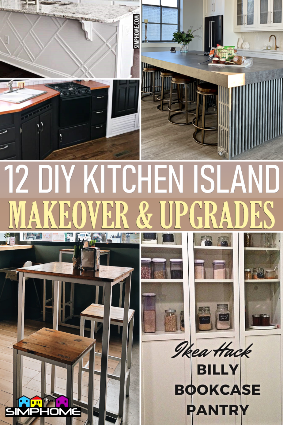 12 DIY Island and Other Kitchen Makeover via Simphome.comFeatured