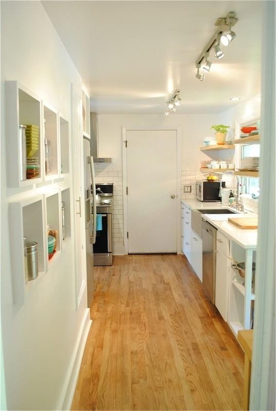 3. Remodeling a Kitchen Galley with Floating Shelves by simphome.com