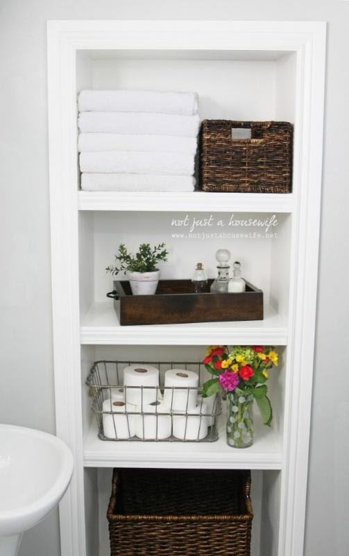 8. DIY Built in bathroom shelves in the basement by simphome.com