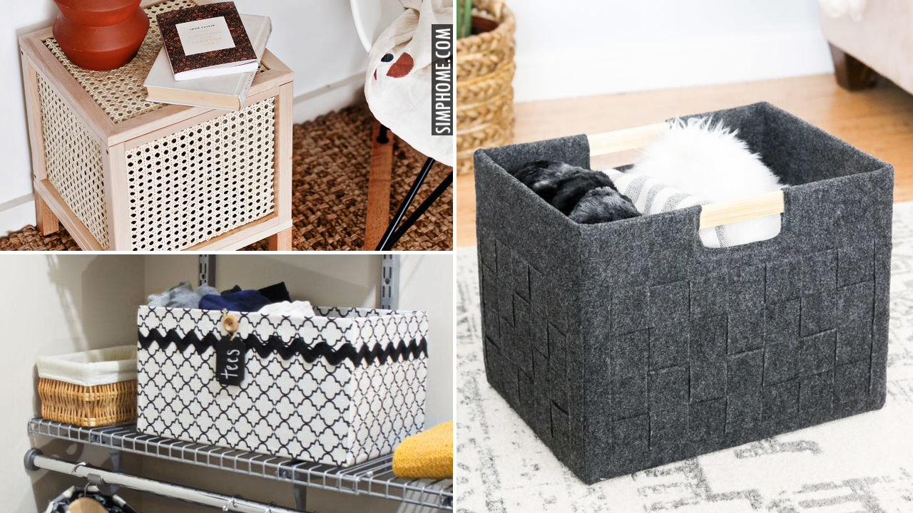 12 Storage Boxes ideas for bedroom kitchen and living room via Simphome.comThumbnail