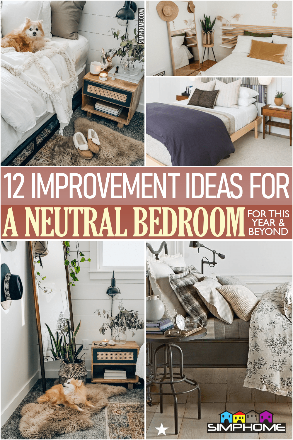 12 Improvement Ideas for a Neutral Bedroom via Simphome.comFeatured