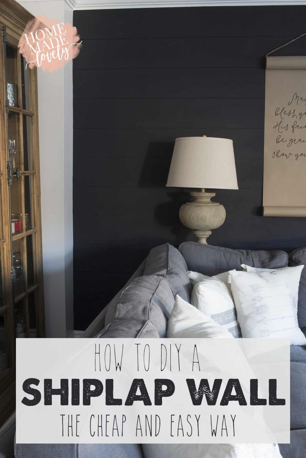 4. Charcoal Gray Shiplap Accent Wall by simphome.com