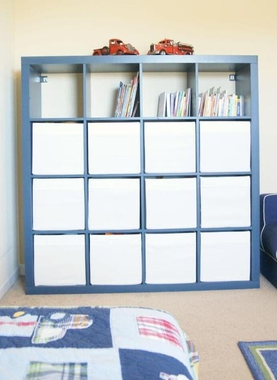 8. A Blue Painted Bookcase for Kids by simphome.com